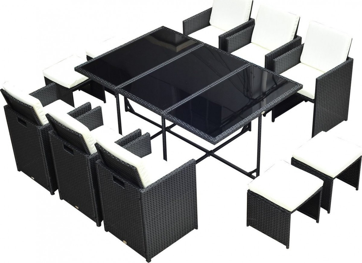 Outsunny 11 Piece Rattan Cube Space Saving Outdoor Dining Set