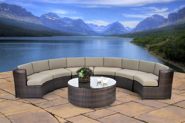 Beverly 7-piece Semicircle Wicker Sectional Sofa Set