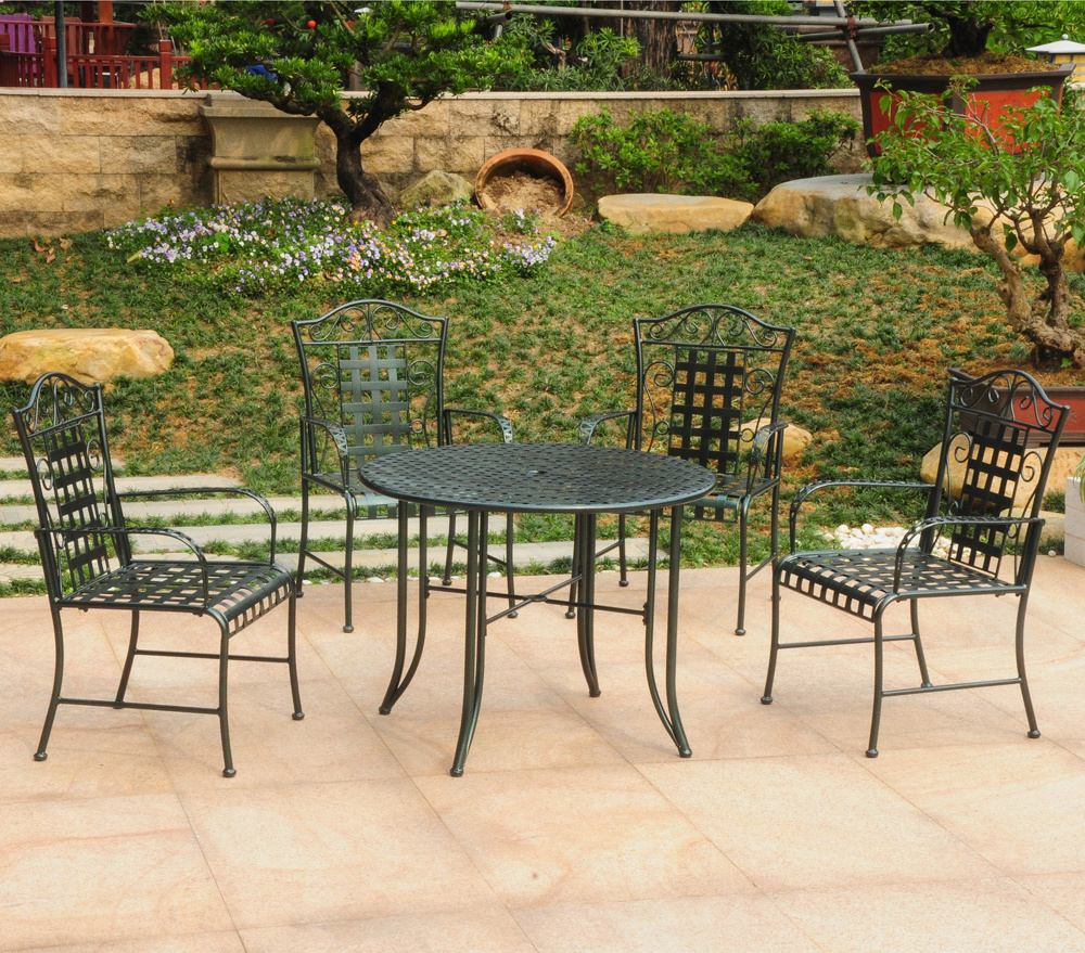 five piece wrought iron patio set patio table