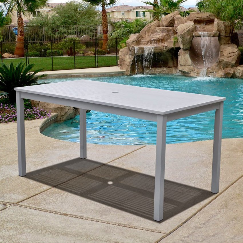 Vifah Bradley Rectangular White Outdoor Dining Table Patio Table - White rectangular outdoor dining table
