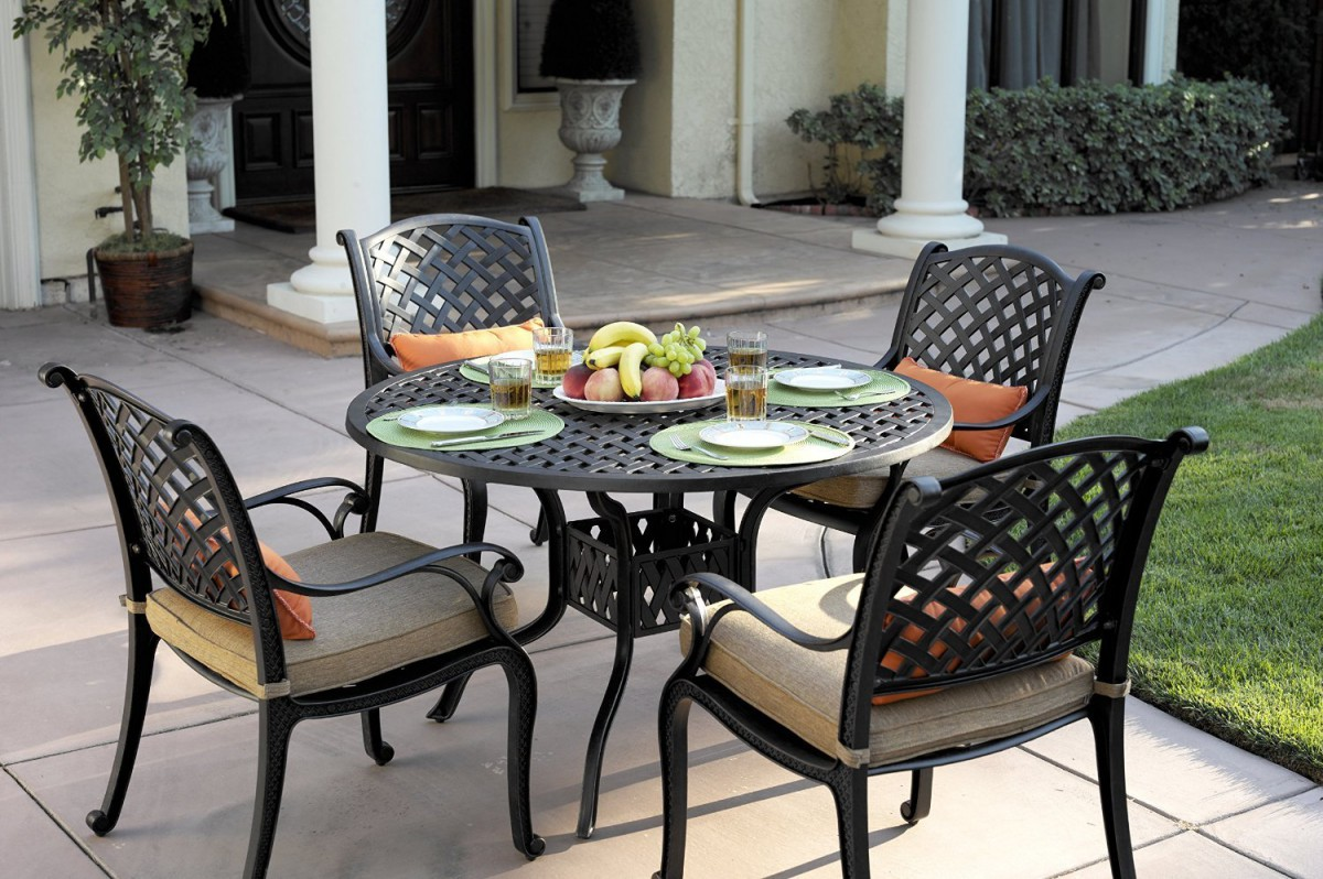 darlee nassau 5pc cast aluminum outdoor patio dining set w cushions. Black Bedroom Furniture Sets. Home Design Ideas