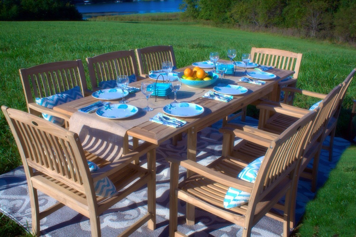 Captivating Pebble Lane Living 9 Piece Teak Outdoor Dining Set With Eco Friendly Teak  Wood