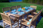 Pebble Lane Living 9 Piece Teak Outdoor Dining Set with Eco-Friendly Teak Wood