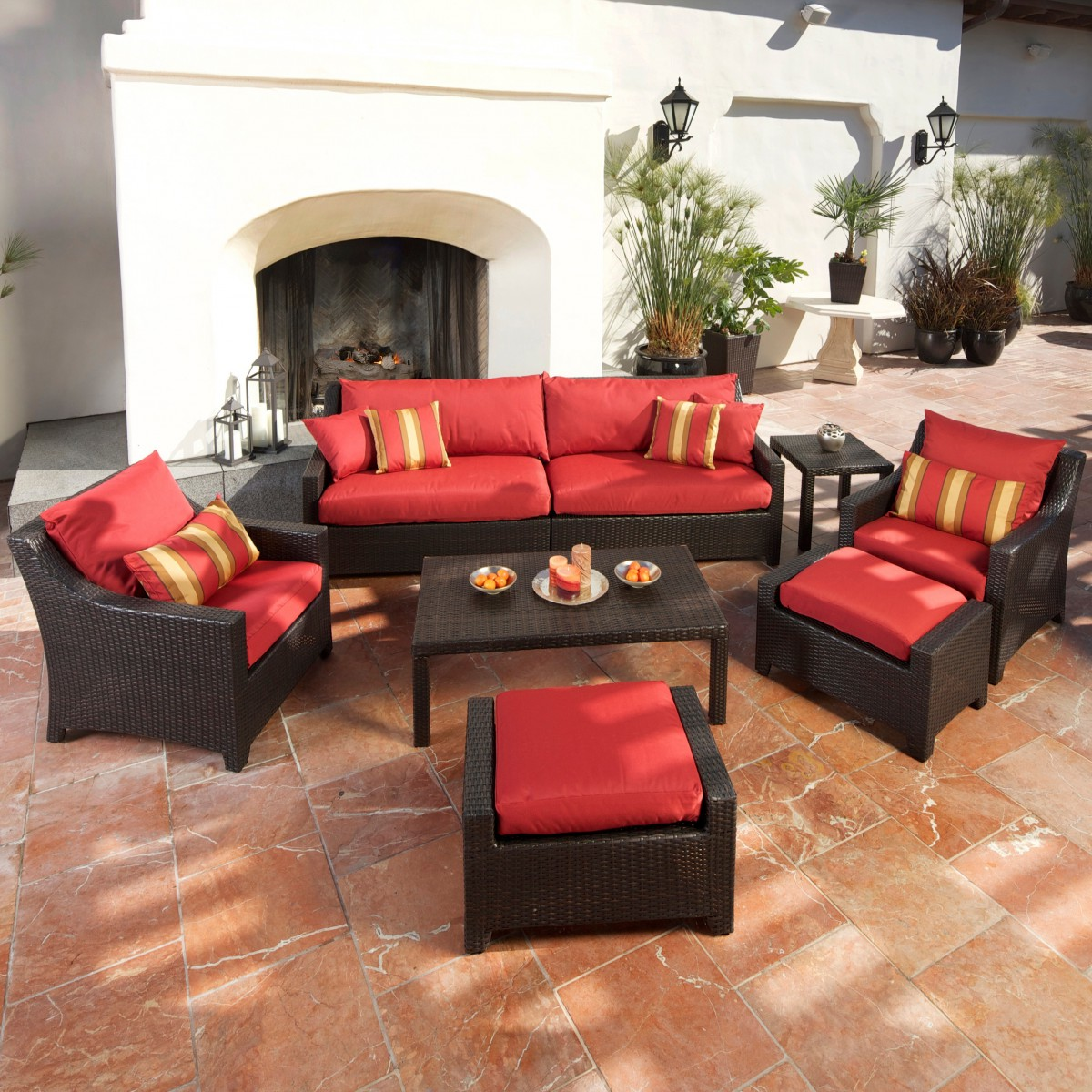 Cantina 7-piece Sofa Seating Set With Chairs, Ottomans, Side Table and Coffee Table