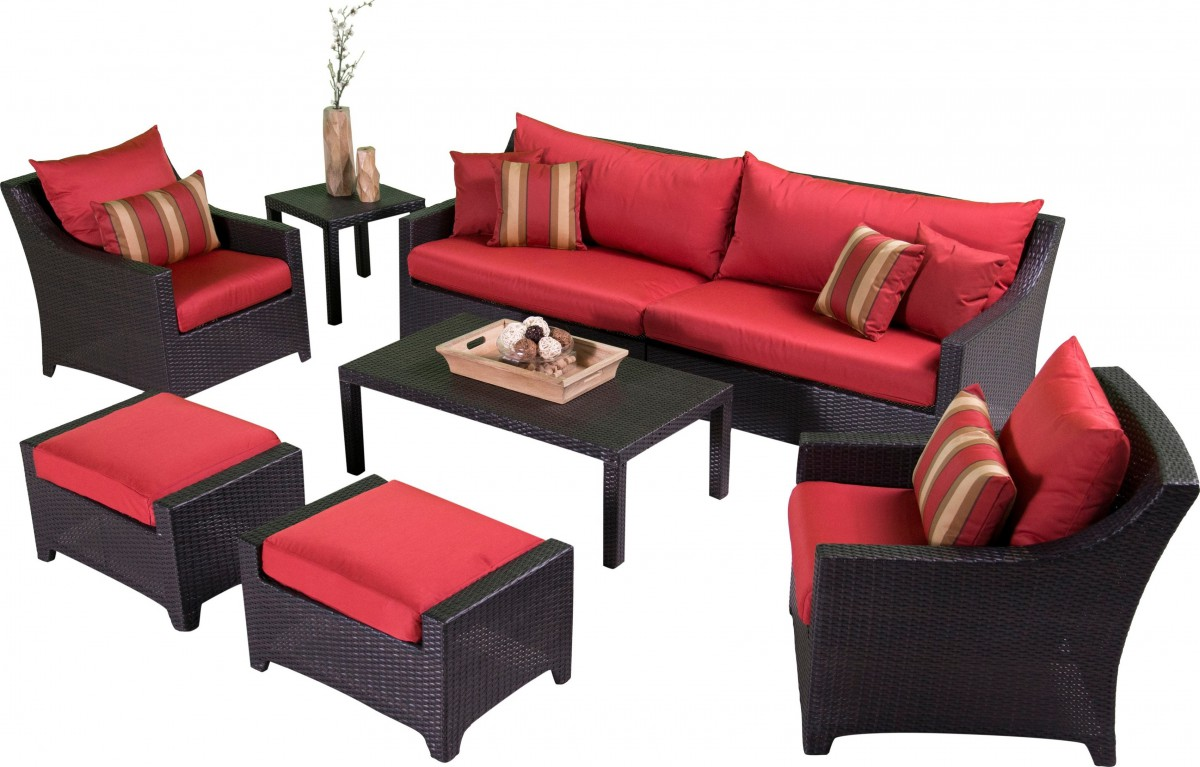 Cantina 7 Piece Sofa Seating Set With Chairs, Ottomans, Side Table And  Coffee Part 88