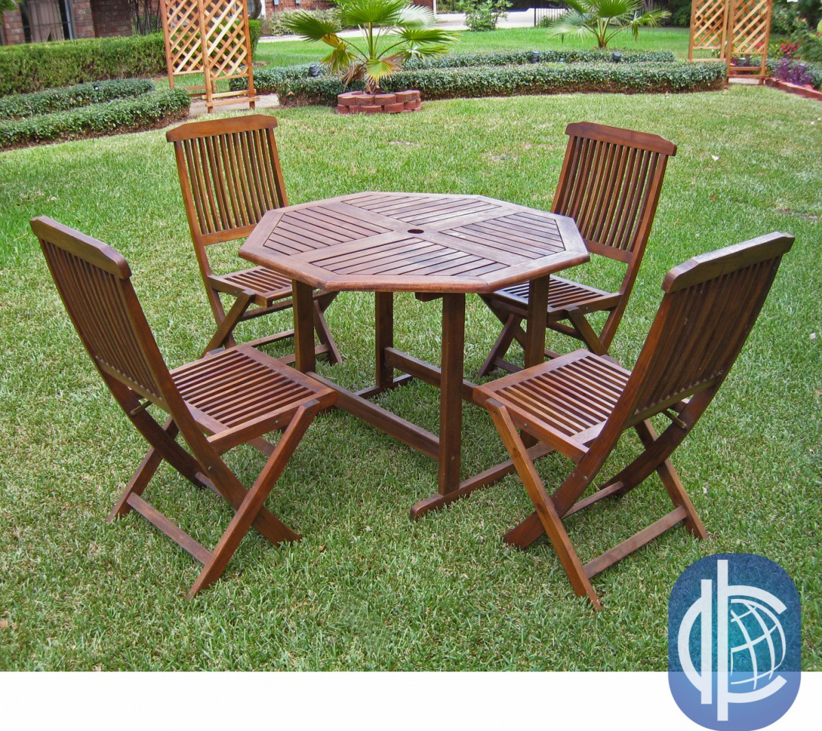 Acacia 5 piece stowaway patio furniture set patio table for Outdoor furniture 5 piece