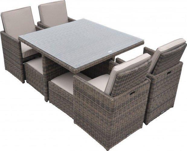 Radeway 9 Piece Rattan Cube Outdoor Patio Dining Set
