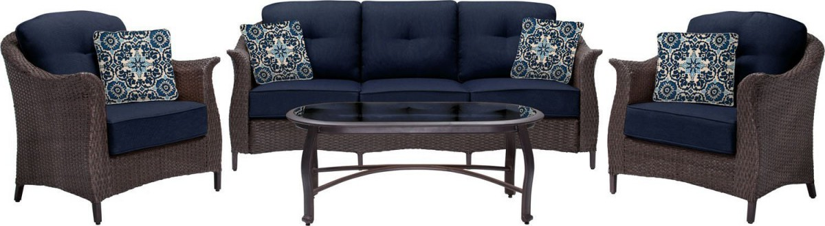 Hanover Gramercy 4 Piece Wicker Outdoor Conversation Set