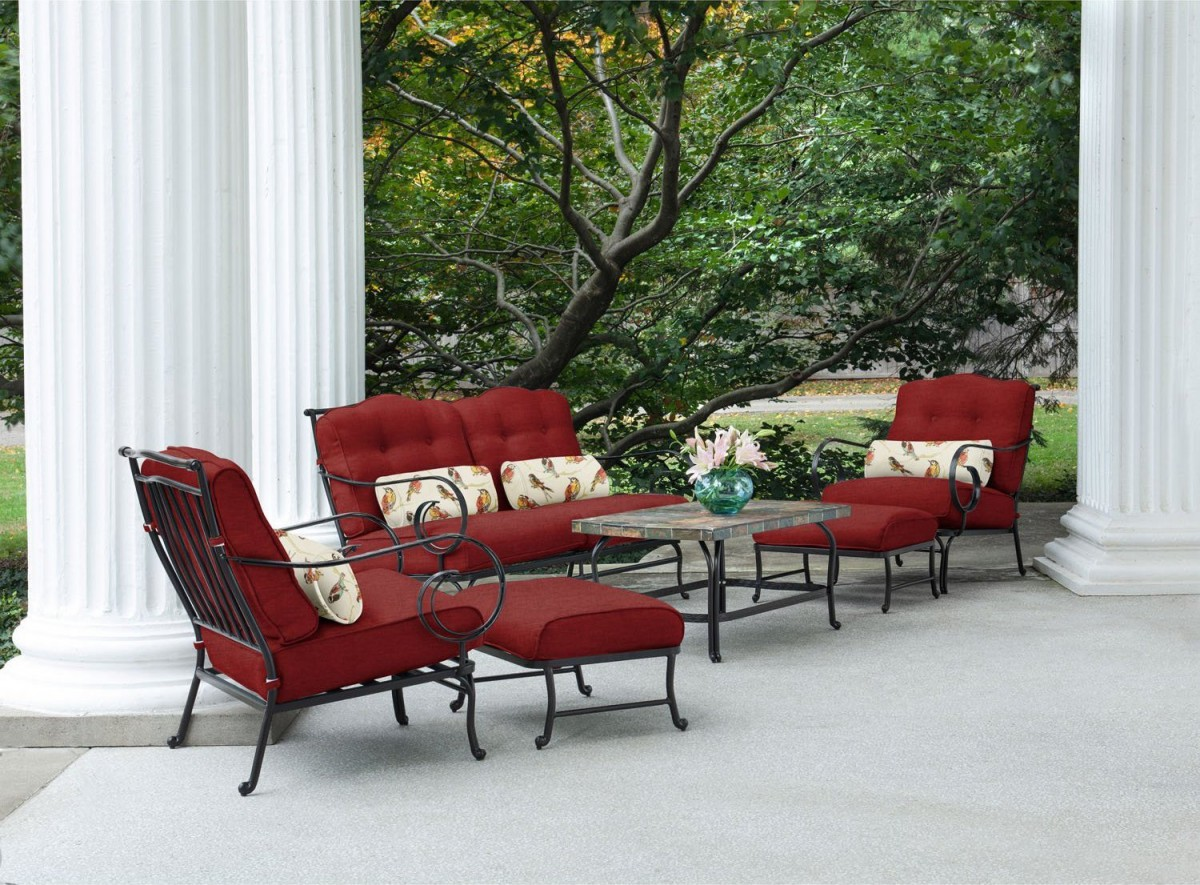 Hanover Oceana 6 Piece Outdoor Conversation Set w/ Deep Seat Cushions
