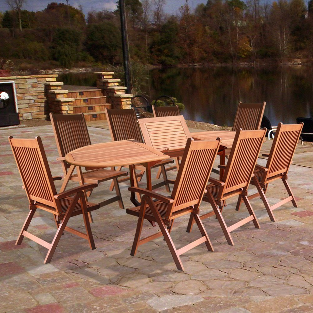 Vifah V144SET2 Wood 9-Piece Patio Dining Set with Oval Extension Table