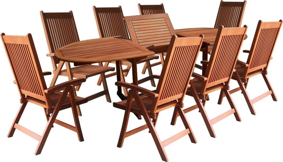 wood 9 piece patio dining set with oval extension table patio table