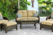 Hanover Newport 6 Piece Wicker Outdoor Conversation Set