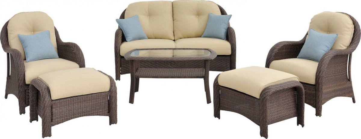 Newport 6 Piece Wicker Outdoor Conversation Set