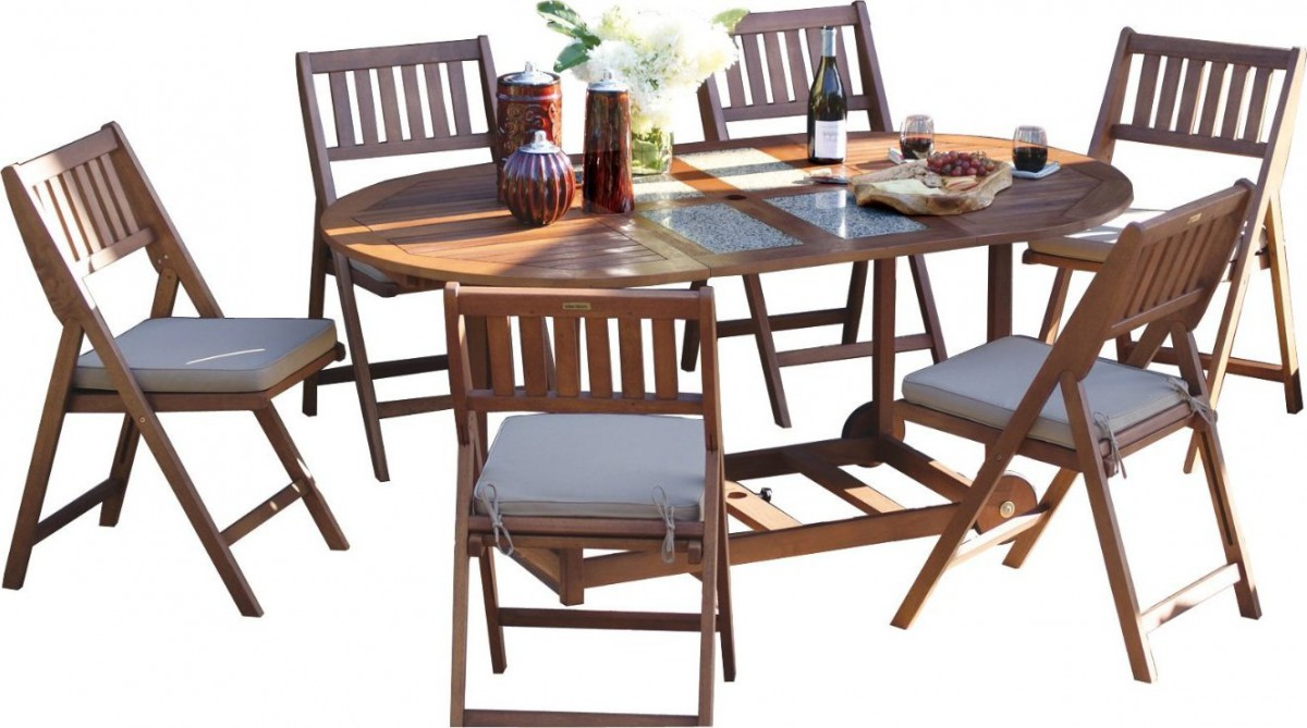 Outdoor Interiors 7 Piece Folding Patio Set Patio Table