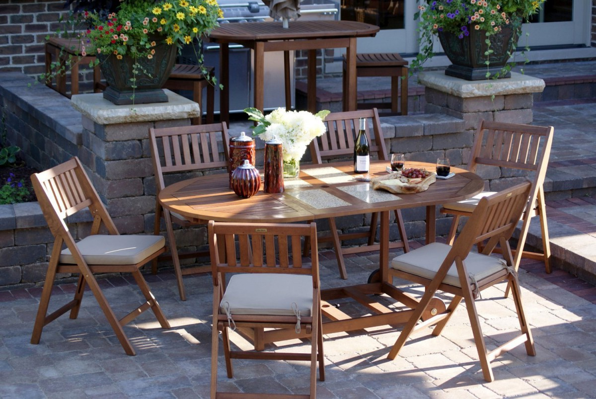 Outdoor interiors 7 piece folding patio set patio table for Patio table set