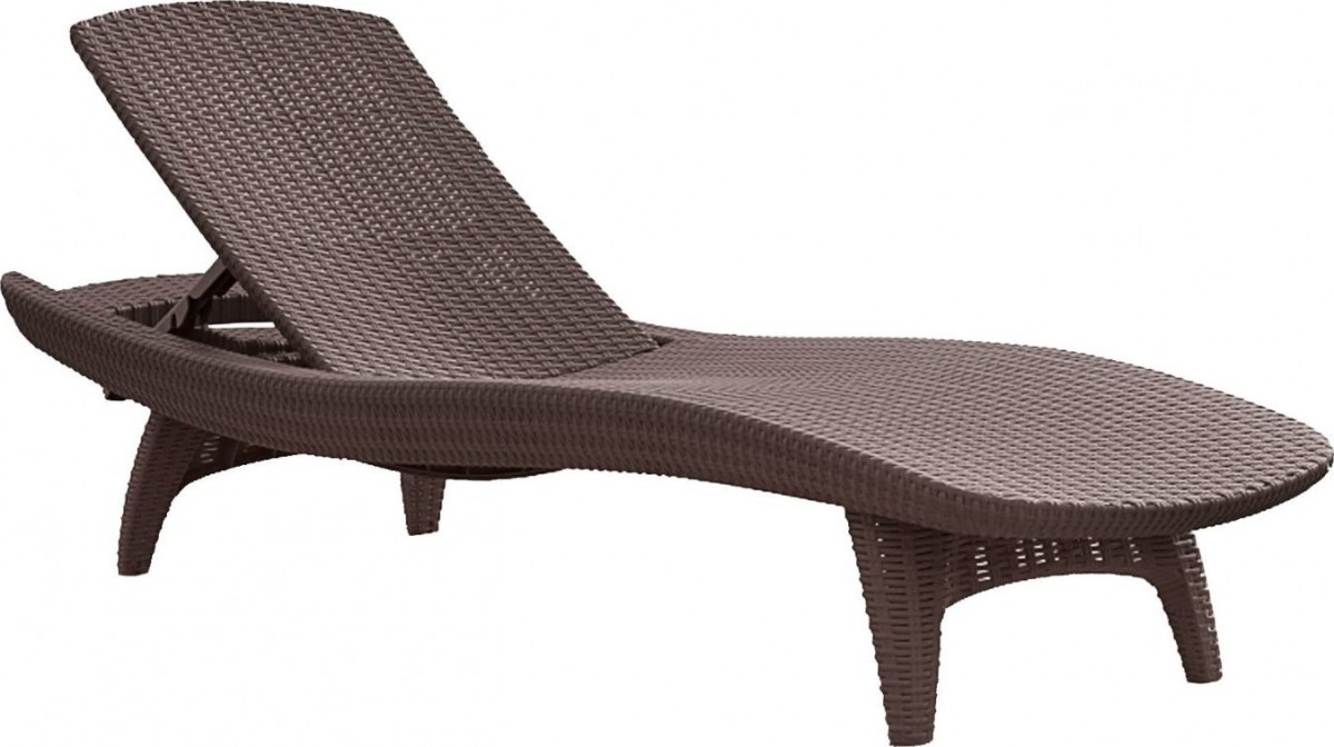 Keter 2pc Rattan Outdoor Chaise Lounge Chairs Patio Table