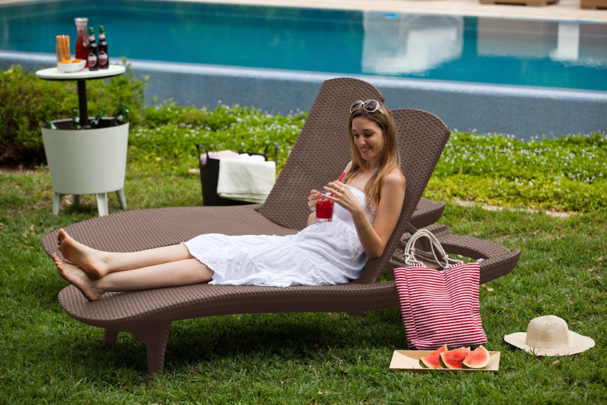 Keter 2pc Rattan Outdoor Chaise Lounge Chairs