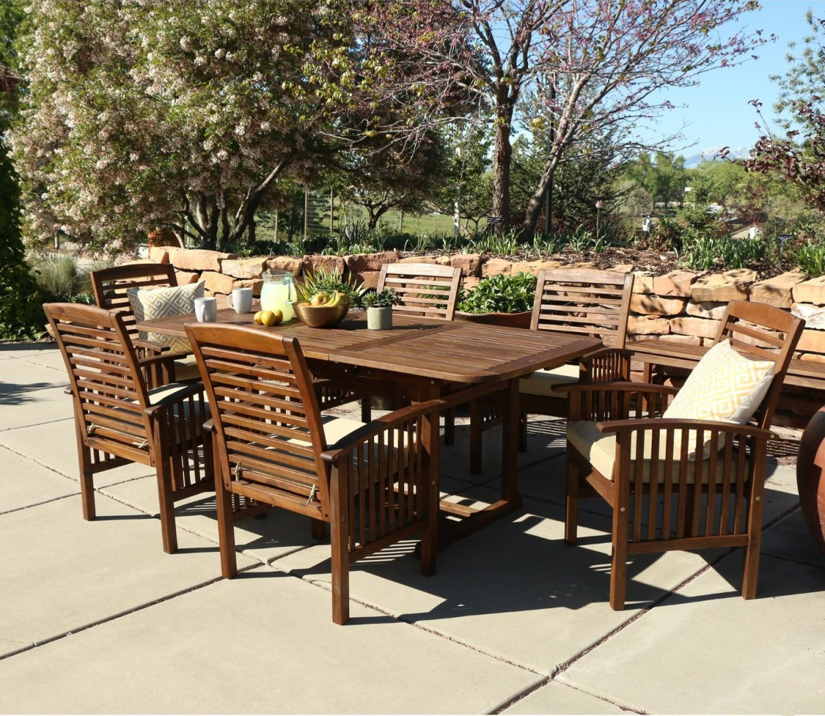 Walker Edison 7 Piece Acacia Wood Patio Dining Set with Cushions. Walker Edison 7 Piece Acacia Wood Patio Dining Set with Cushions