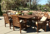 Walker Edison 7-Piece Acacia Wood Patio Dining Set with Cushions