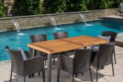 Delgado 7 Piece Outdoor Dining Set with Wood Table and Wicker Chairs
