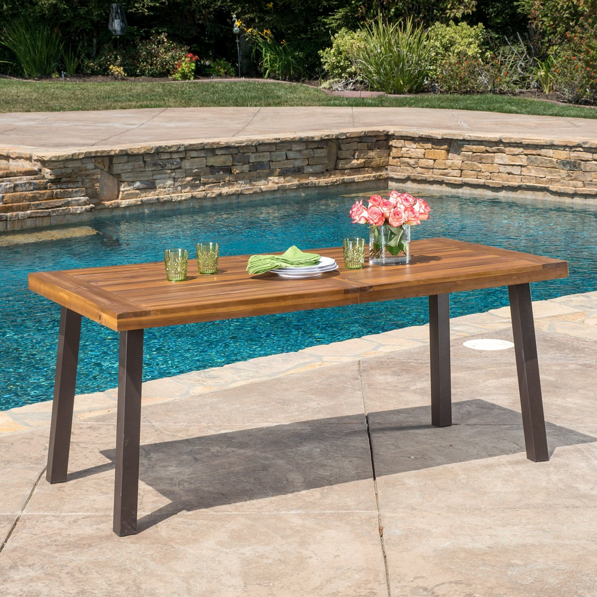 Delgado 7 piece outdoor dining set with wood table and for Patio furniture table set