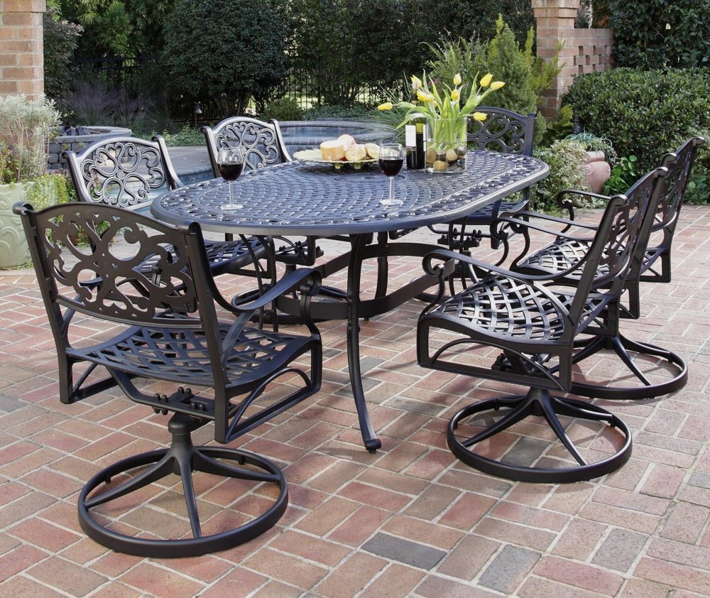 Home styles biscayne 7 piece outdoor dining set with for Patio dining sets with bench seating