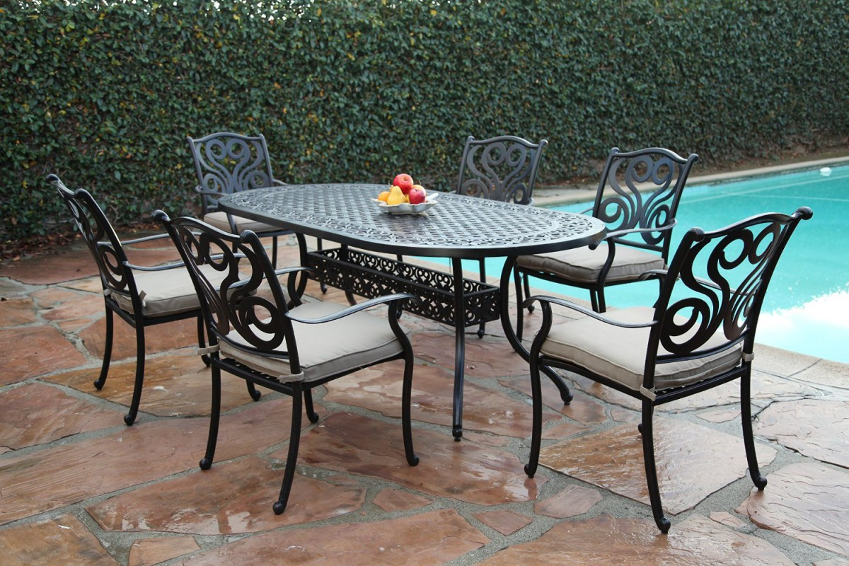 cbm outdoor cast aluminum 7 piece dining set g with cushions patio table. Black Bedroom Furniture Sets. Home Design Ideas