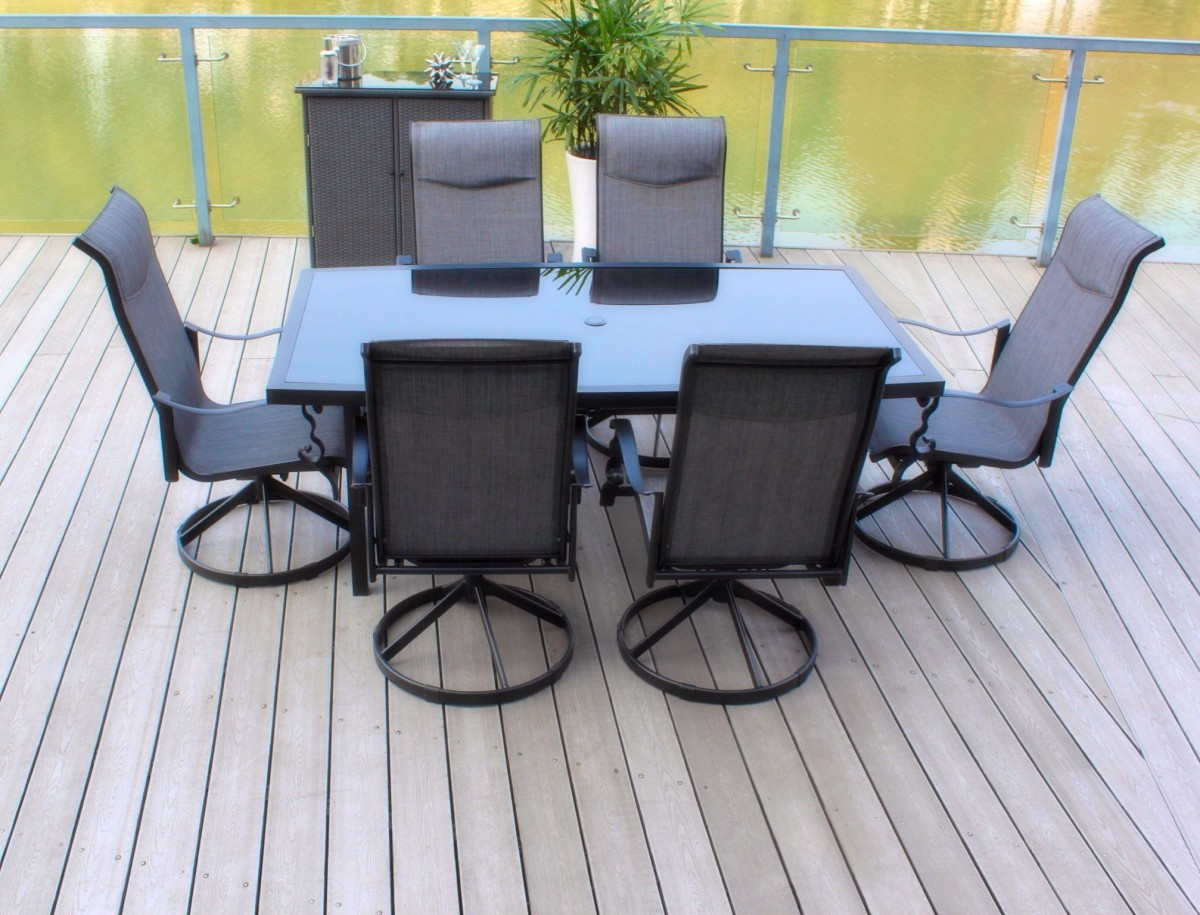 Pebble lane living 7 piece patio dining set with cast for Porch table and chair set