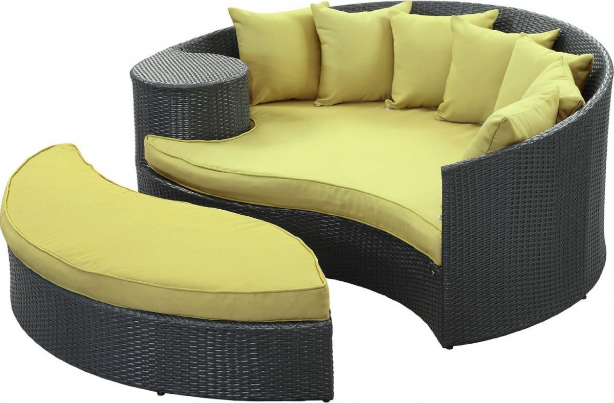 Lexmod Taiji Round Wicker Outdoor Daybed With Ottoman.