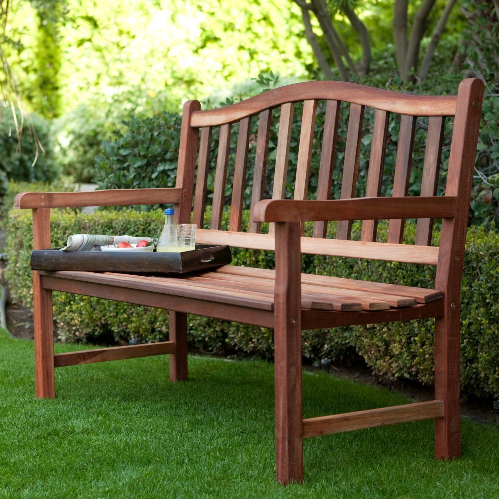 Belham Living Richmond 4 Foot Outdoor Wood Bench With Curved Back
