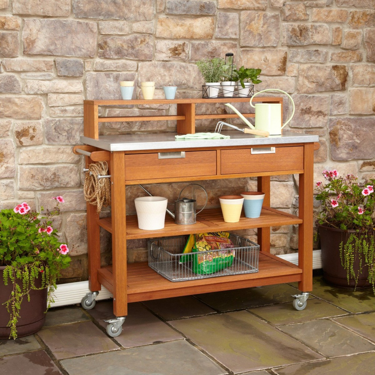 Home Styles Bali Hai Teak Wood Outdoor Potting Bench
