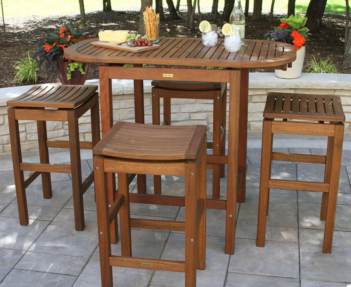 Marvelous Outdoor Interiors 2 4 6 Folding Pub Table