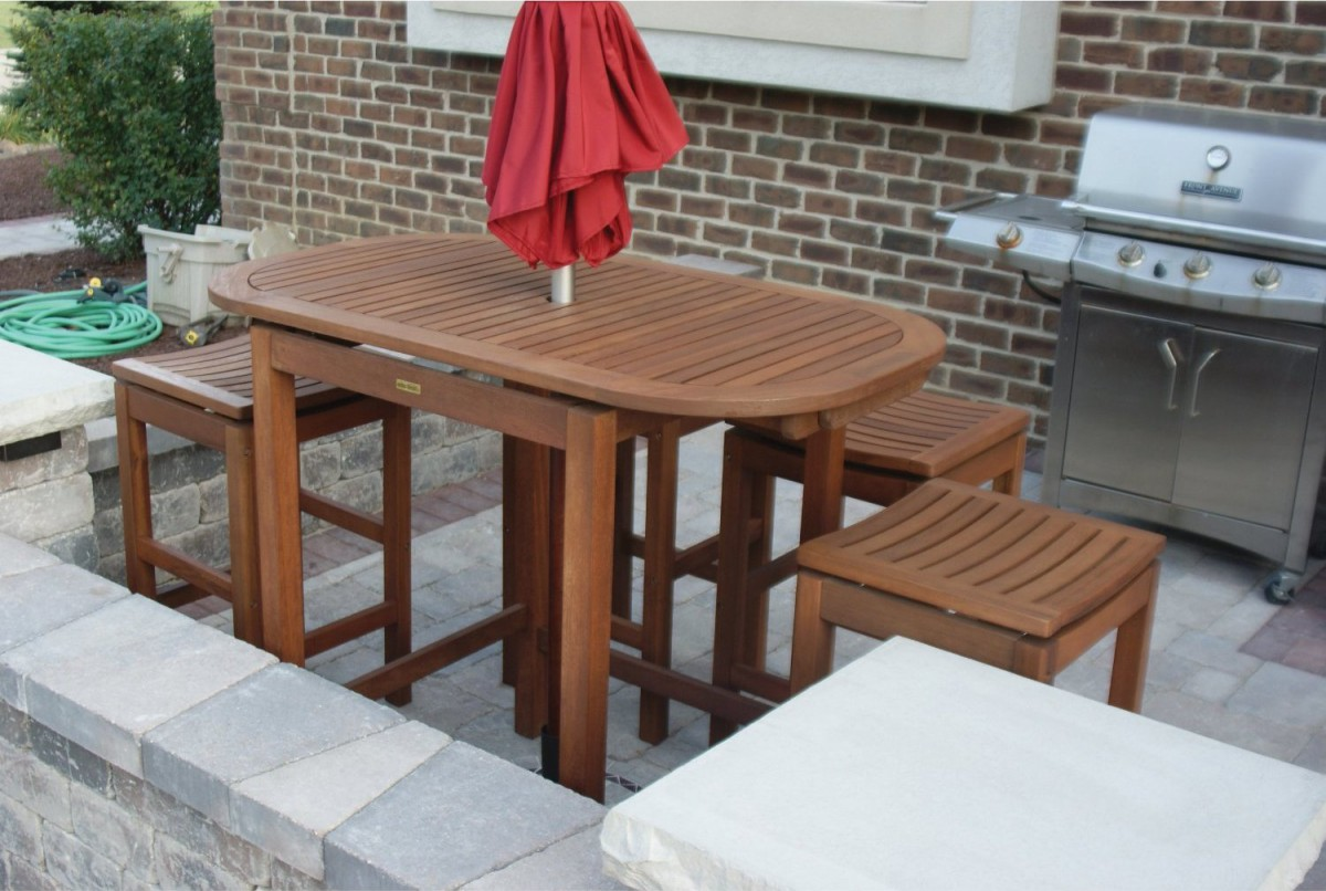 Outdoor Interiors 2 4 6 Folding Pub Table
