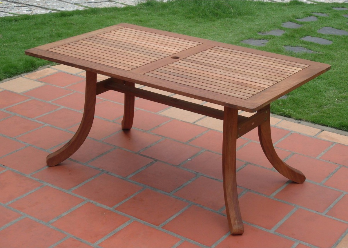 Vifah atlantic outdoor rectangular patio table patio table for Garden patio table