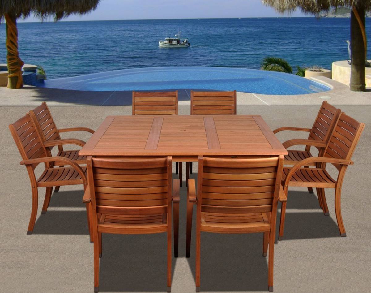 Amazonia Arizona 9pc Square Outdoor Patio Dining Set w/ Stackable Chairs