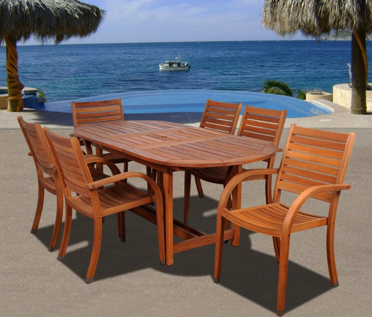 amazonia arizona 7 piece wood outdoor dining set with 83 oval table and 6 stackable chairs