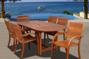 Amazonia Arizona 7 Piece Wood Outdoor Dining Set with 83″ Oval Table and 6 Stackable Chairs