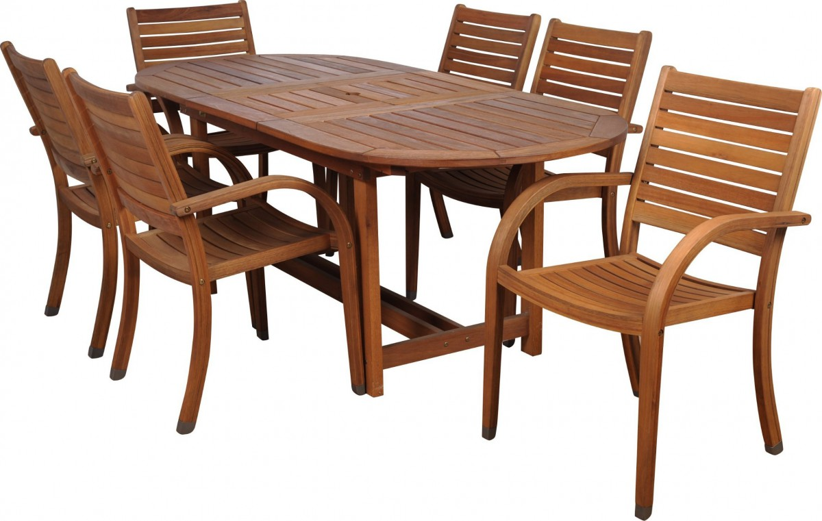 Amazonia arizona 7 piece wood outdoor dining set with 83 for Outdoor table set