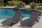 Eliana 2pc Ergonomic Wicker Outdoor Chaise Lounge Chairs