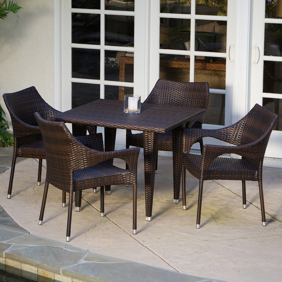 Del Mar Wicker 5 Piece Outdoor Dining Set with Stackable Wicker Chairs