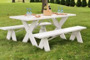 Dura-Trel White Plastic Picnic Table with Detached Benches