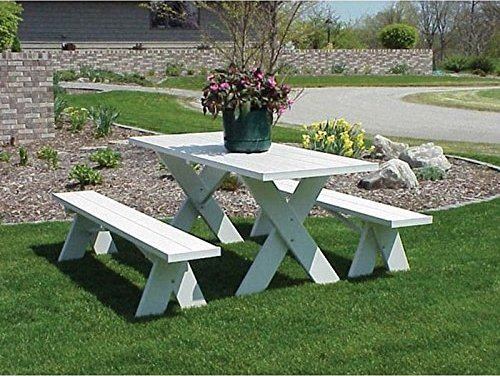 Dura Trel White Plastic Picnic Table With Detached Benches