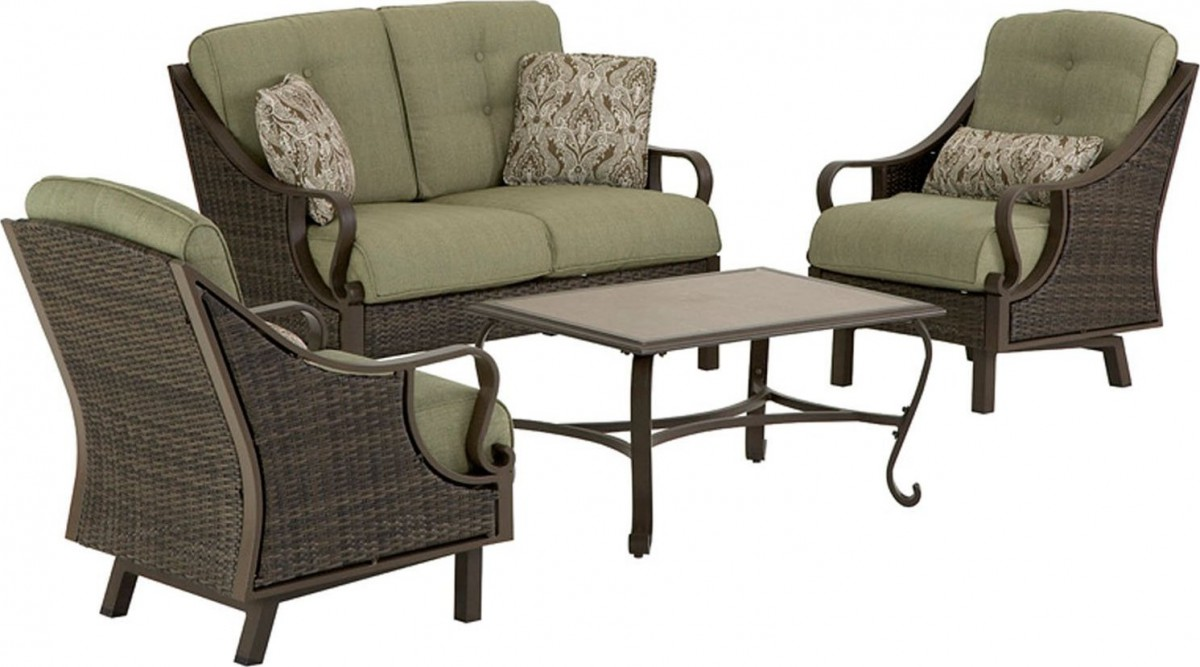 Hanover Ventura 4 Piece Wicker Outdoor Conversation Set