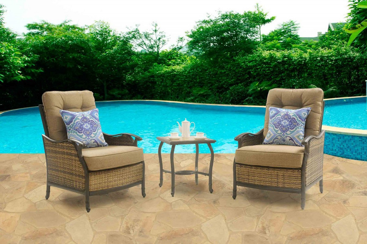 Hanover hudson square 3 piece outdoor deep seating lounge for Patio lounge sets