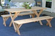 Creekvine Designs Cross Legged Cedar Wood Picnic Table Set