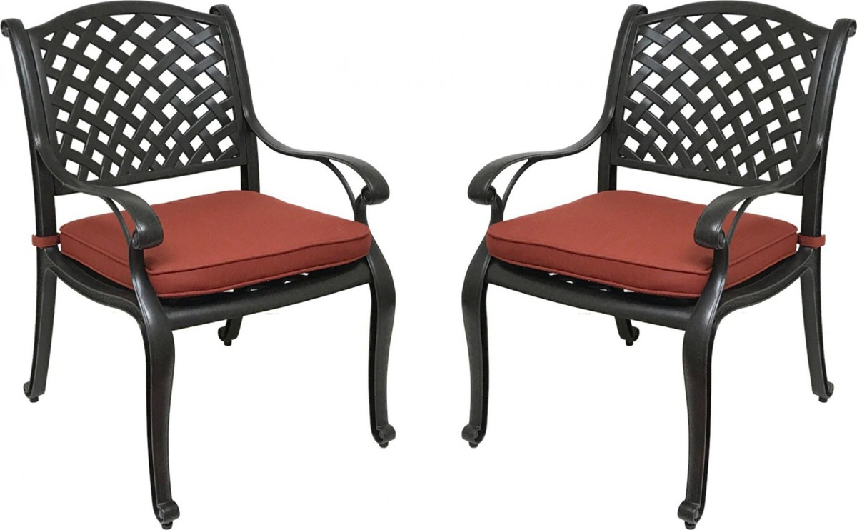nevada cast aluminum outdoor patio dining chairs with sunbrella