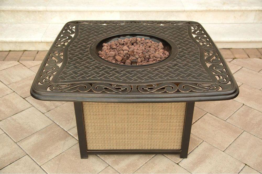 Hanover Traditions 4 Piece Outdoor Fire Pit Table Set