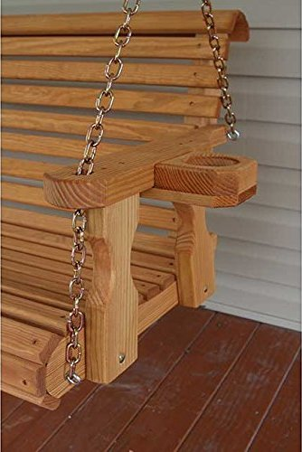 Amish Heavy Duty 5ft Outdoor Wooden Porch Swing Set w/ Cupholders