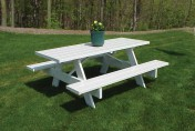 Dura-Trel Traditional White Plastic Picnic Table Bench