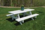 Dura-Trel Traditional White Plastic Picnic Table Bench
